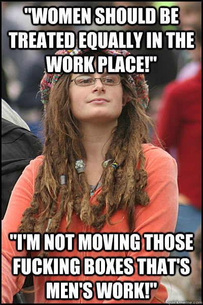 women should be treated equally in the work place im no - College Liberal