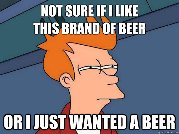 not sure if i like this brand of beer or i just wanted a be - Futurama Fry