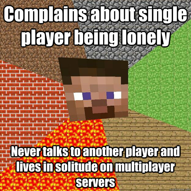 complains about single player being lonely never talks to an - Minecraft