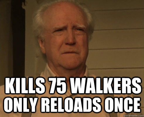 kills 75 walkers only reloads once - Hershel