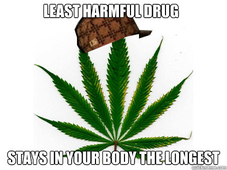 least harmful drug stays in your body the longest - Scumbag Marijuana