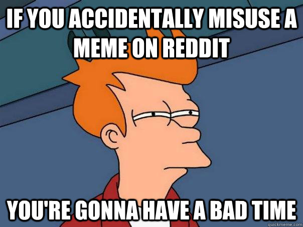 if you accidentally misuse a meme on reddit youre gonna hav - Futurama Fry