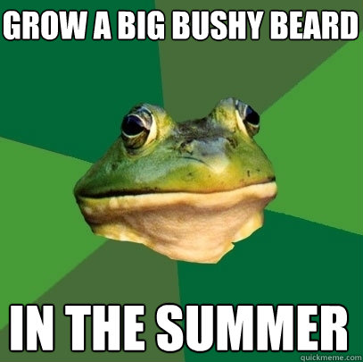 grow a big bushy beard in the summer - Foul Bachelor Frog