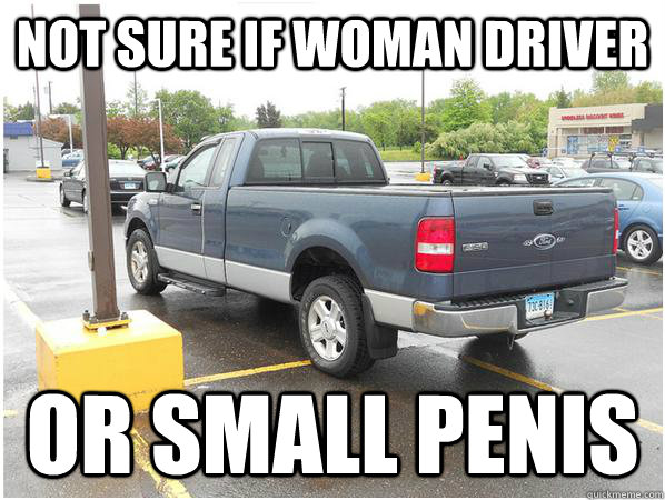 not sure if woman driver or small penis - Overcompensation