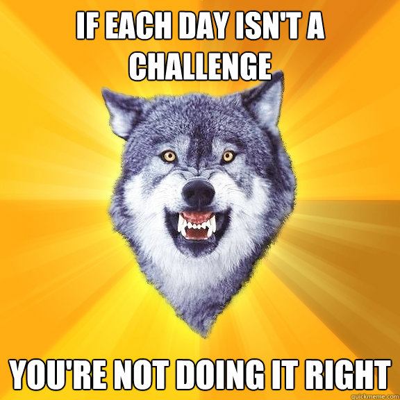 if each day isnt a challenge youre not doing it right - Courage Wolf