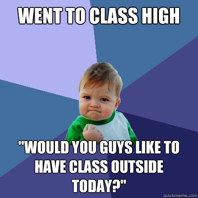 went to class high would you guys like to have class outsid - Success Kid