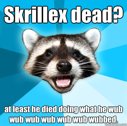 skrillex dead at least he died doing what he wub wub wub wu - Lame Pun Coon