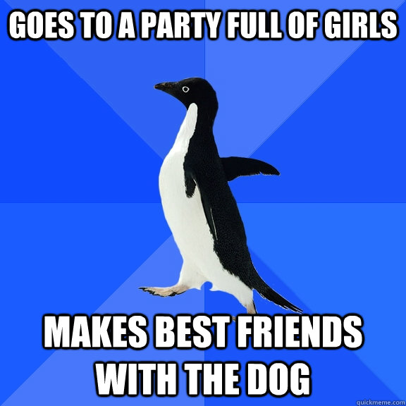 goes to a party full of girls makes best friends with the do - Socially Awkward Penguin