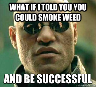 what if i told you you could smoke weed and be successful - Matrix Morpheus
