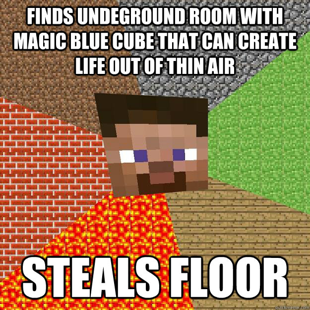 finds undeground room with magic blue cube that can create l - Minecraft
