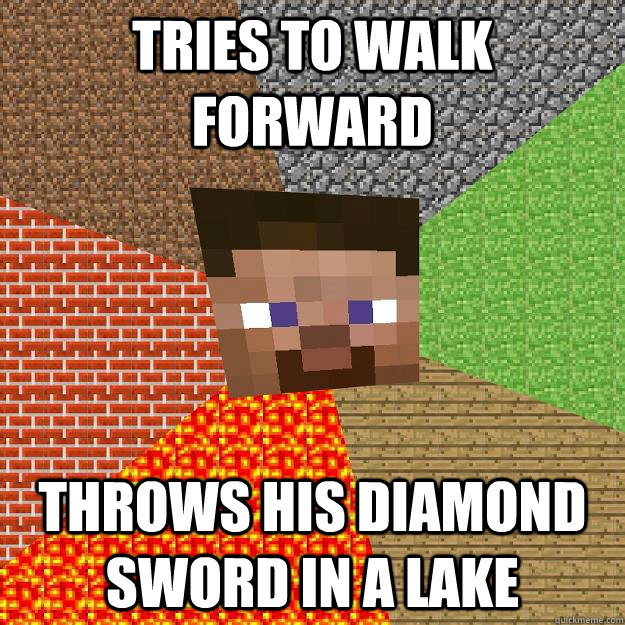 tries to walk forward throws his diamond sword in a lake - Minecraft