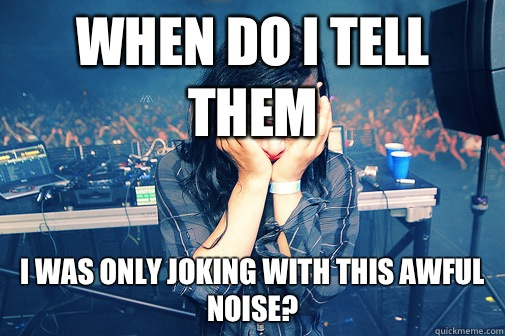 When do I tell them I was only joking with this awful noise - Skrillexguiz