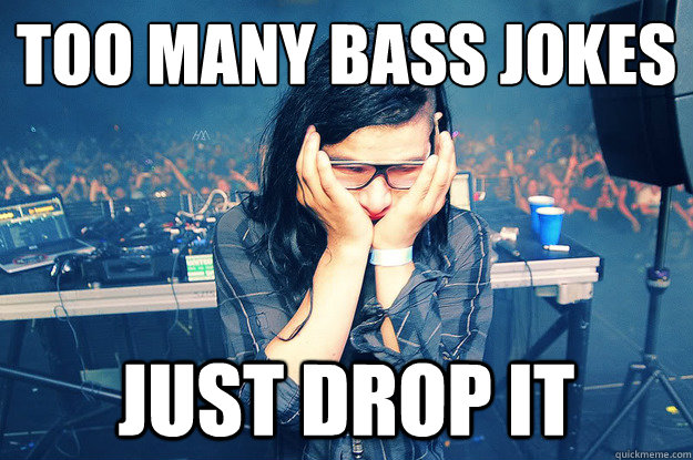 too many bass jokes just drop it - Sad Skrillex