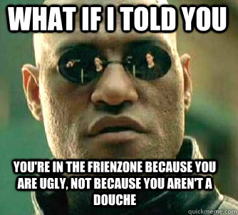 what if i told you youre in the frienzone because you are u - Matrix Morpheus