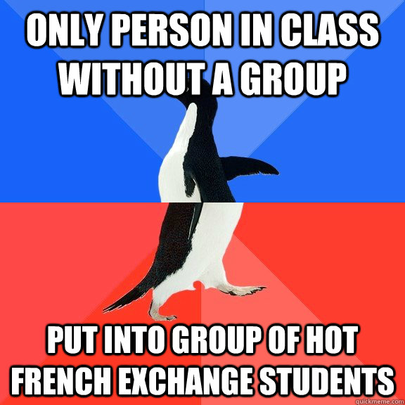 only person in class without a group put into group of hot f - Socially Awkward Awesome Penguin