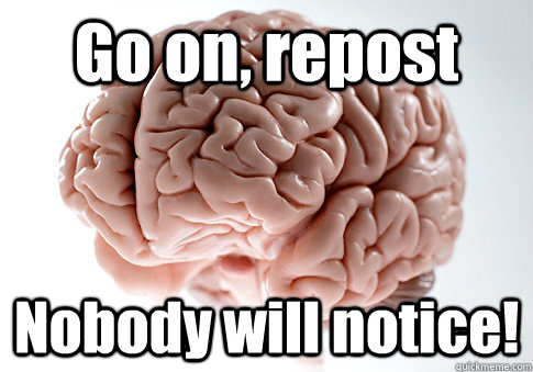 go on repost nobody will notice  - Scumbag Brain
