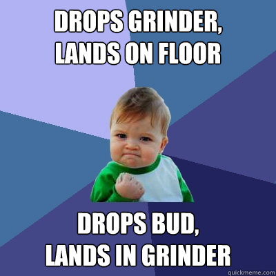 drops grinder lands on floor drops bud lands in grinder - Success Kid