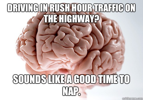 Driving in rush hour traffic on the highway Sounds like a go - Scumbag Brain