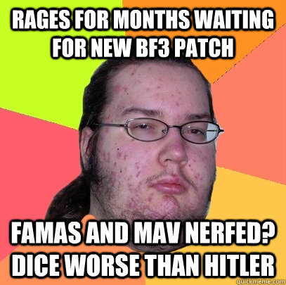 rages for months waiting for new bf3 patch famas and mav ner - Butthurt Dweller