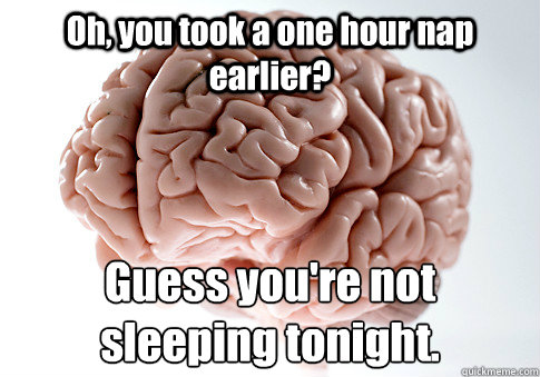 oh you took a one hour nap earlier guess youre not sleepi - Scumbag Brain