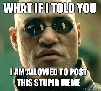 what if i told you i am allowed to post this stupid meme - Matrix Morpheus