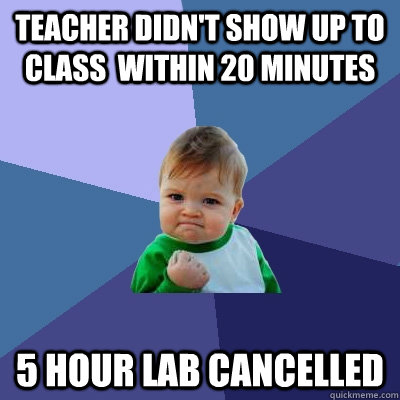 teacher didnt show up to class within 20 minutes 5 hour la - Success Kid