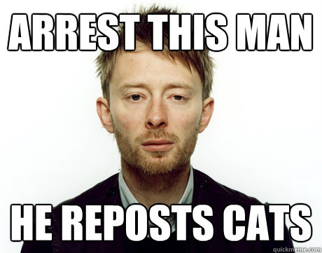arrest this man he reposts cats - Freak Monkey Thom Yorke