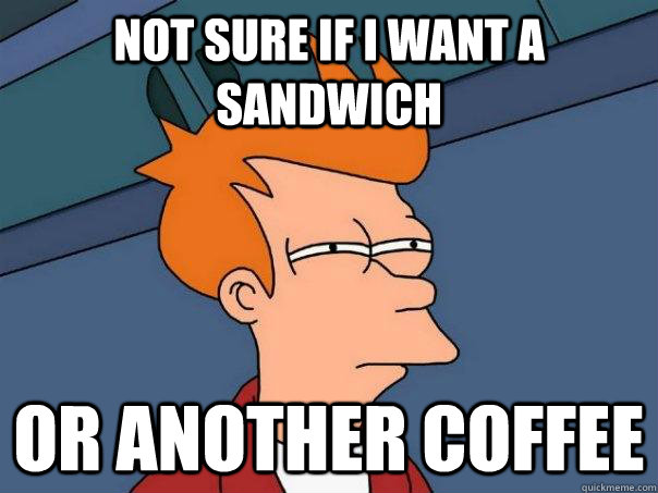 not sure if i want a sandwich or another coffee - Futurama Fry