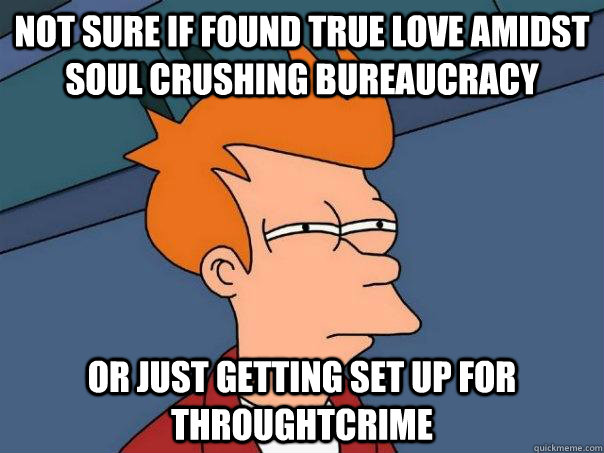 not sure if found true love amidst soul crushing bureaucracy - Futurama Fry