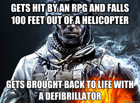 gets hit by an rpg and falls 100 feet out of a helicopter ge - Battlefield 3