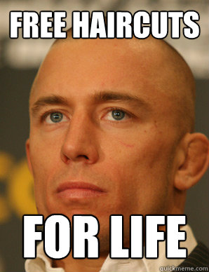 free haircuts for life - baldness perks