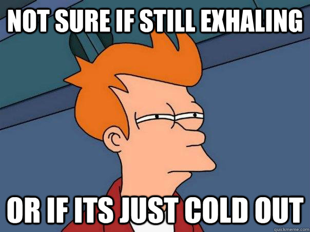 not sure if still exhaling or if its just cold out - Futurama Fry