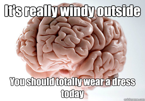 its really windy outside you should totally wear a dress to - Scumbag Brain