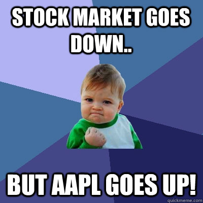 stock market goes down but aapl goes up - Success Kid