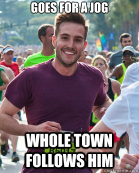 goes for a jog whole town follows him - Ridiculously photogenic guy