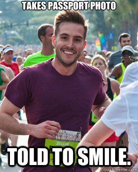takes passport photo told to smile - Ridiculously photogenic guy