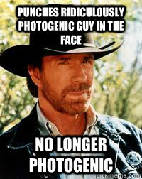 punches ridiculously photogenic guy in the face no longer ph - Fuggin Chuck Norris