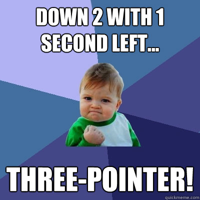 down 2 with 1 second left threepointer - Success Kid
