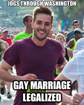 jogs through washington gay marriage legalized - Ridiculously photogenic guy