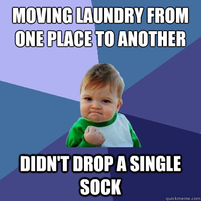 moving laundry from one place to another didnt drop a singl - Success Kid