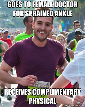 goes to female doctor for sprained ankle receives compliment - Ridiculously photogenic guy