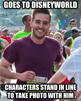 goes to disneyworld characters stand in line to take photo w - Ridiculously photogenic guy