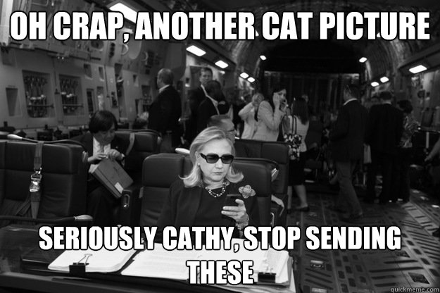 oh crap another cat picture seriously cathy stop sending t - Badass Hillary