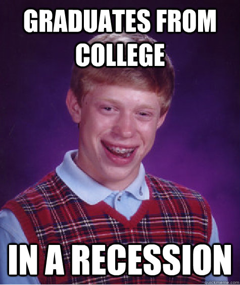 graduates from college in a recession - Bad Luck Brian