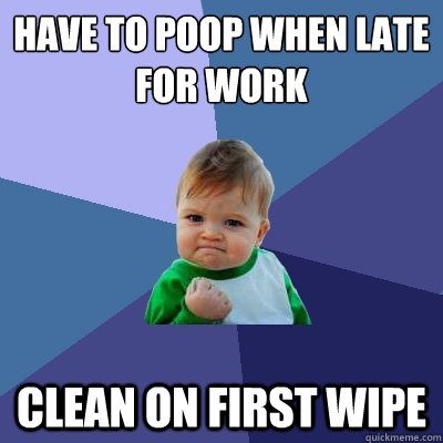 have to poop when late for work clean on first wipe - Success Kid