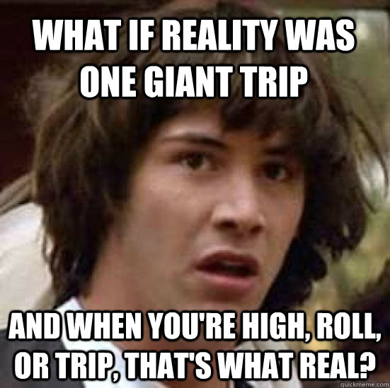 what if reality was one giant trip and when youre high rol - conspiracy keanu