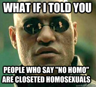 what if i told you people who say no homo are closeted hom - Matrix Morpheus