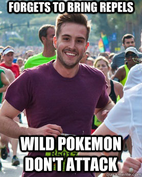 forgets to bring repels wild pokemon dont attack - Ridiculously photogenic guy