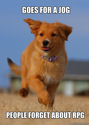 goes for a jog people forget about rpg - Ridiculously Photogenic Puppy