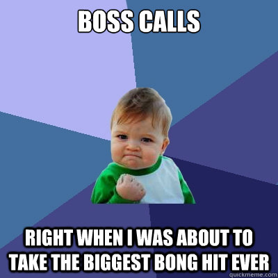 boss calls right when i was about to take the biggest bong h - Success Kid